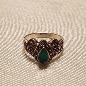 Vintage Art Deco Sterling Marcasite Jade Ring